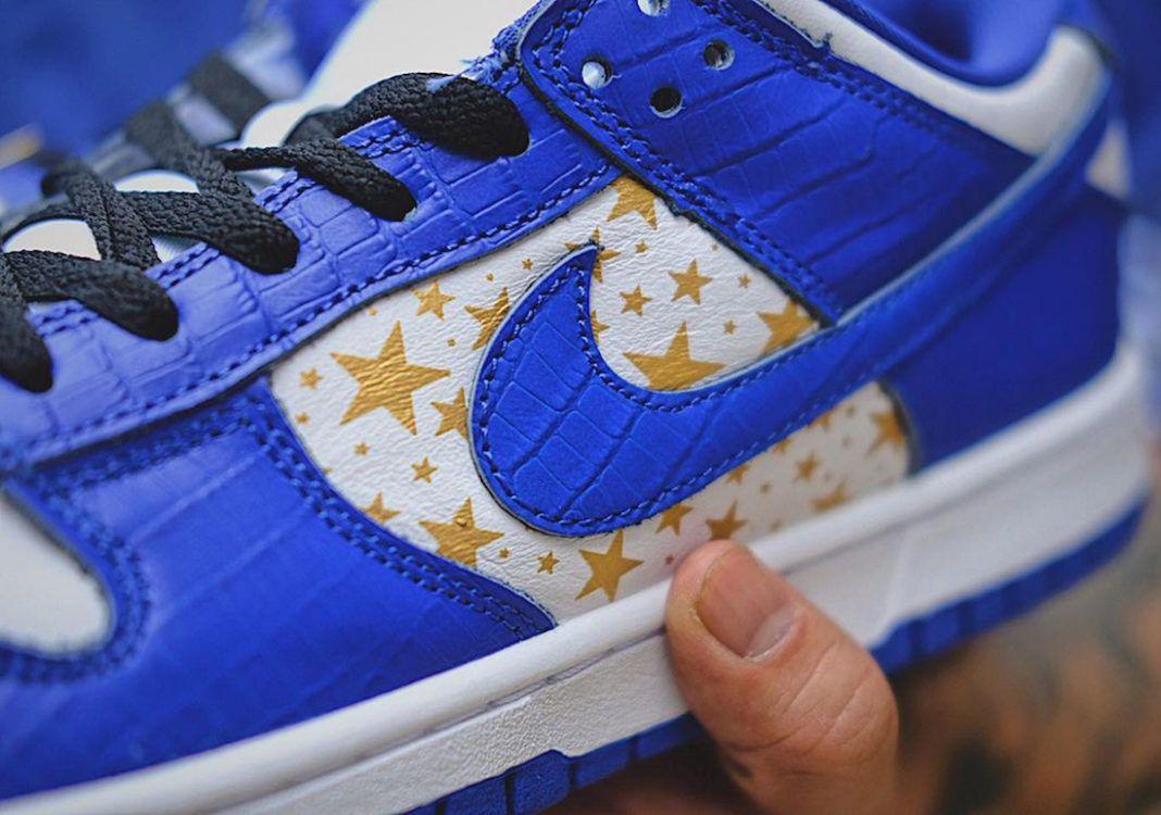Supreme x Nike SB Dunk Low 'Hyper Blue' leak up close