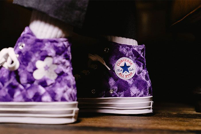 Golf Le Fleur Converse Chuck 70 Quilted Purple On Feet Close Up All Star Patch