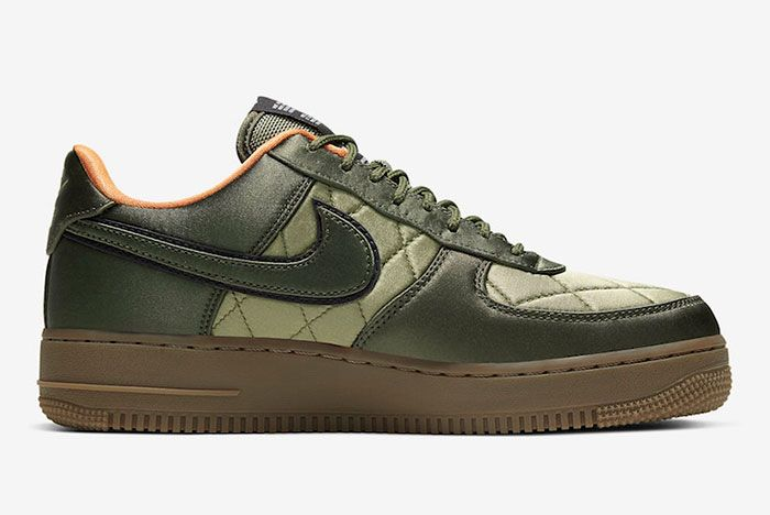 Nike Air Force 1 Low Quilted Olive Flight Jacket Cu6724 333 Medial