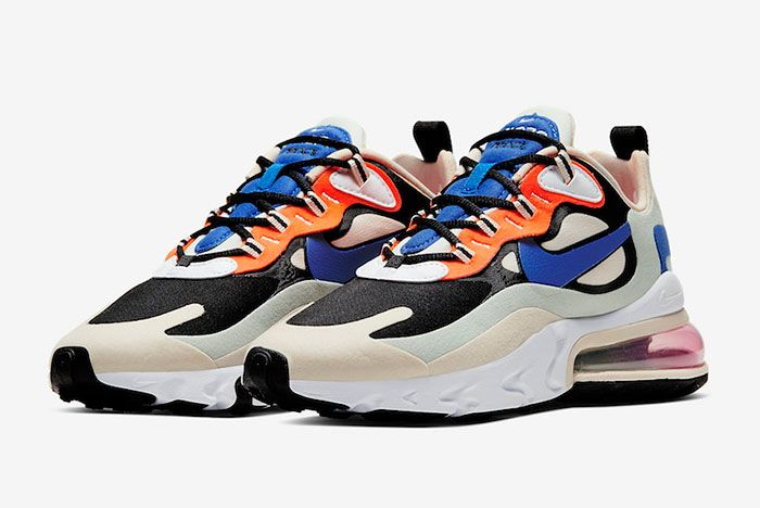 Nike Air Max 270 React Fossil Hyper Royal Pistachio Frost Ci3899 200 Front Angle