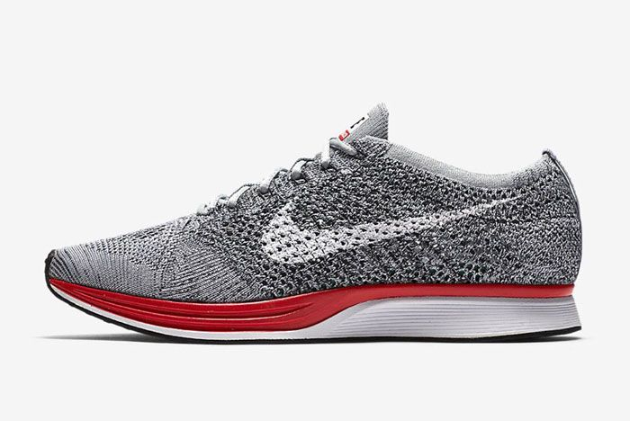 Nike Flyknit Racer Wolf Grey Red