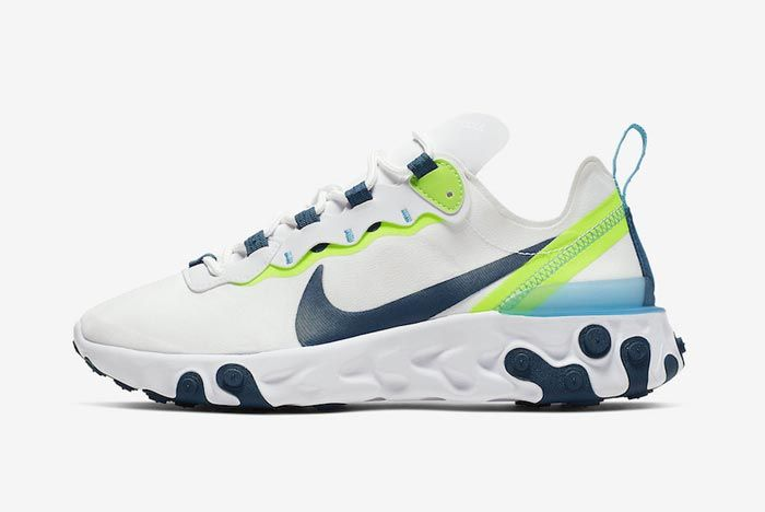 Nike React Element 55 White Navy Sea Green Lateral