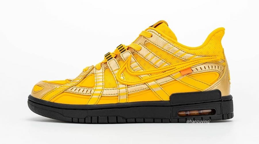 off-white nike air rubber dunk university gold left