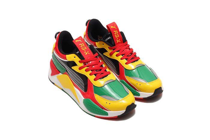 Atmos Puma Rs X Yellow Red Green Three Quarter Angle Side Shot