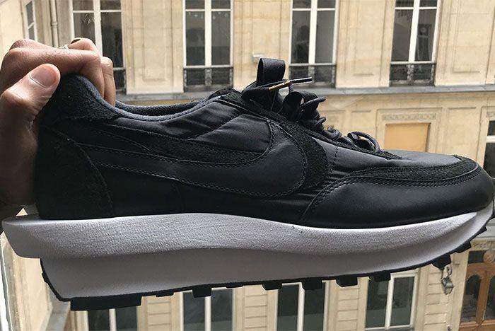 Sacai Nike Ldwaffle Black In Hand