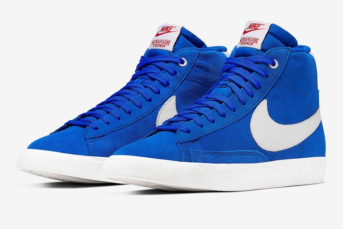 Stranger Things Nike Blazer Blue Og Collection Ck1906 400 Three Quarter Angled Side Shot