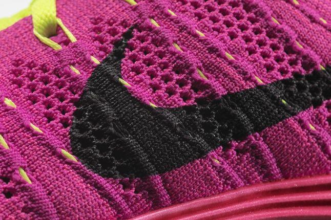 Wmns Flyknit Lunar1 Pink Swooshknit Detail 1