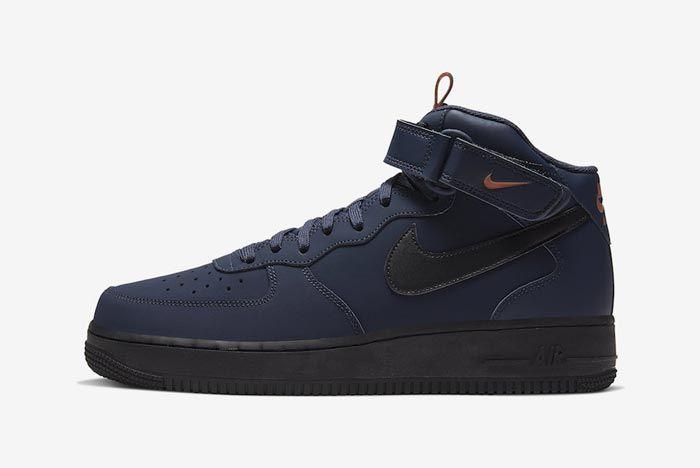 Nike Air Force 1 Mid Obsidian Black Dusty Peach Lateral