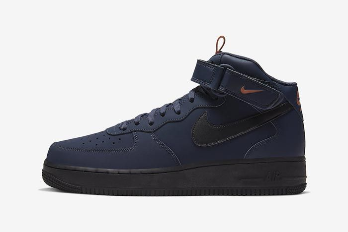 Nike Air Force 1 Mid Obsidian Black Dusty Peach Lateral