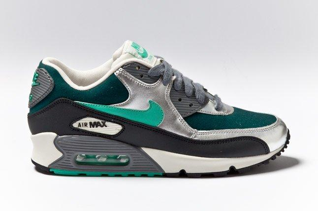 Nike Air Max 90 Womens Silver Mint Teal Side 1