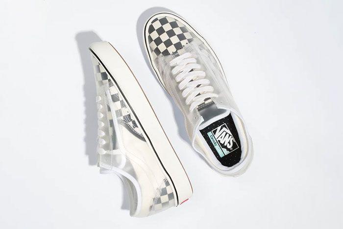 Vans Slip Skool Checkerboard Canvas Slip On Old Skool Hybrid White Checkerboard Top Shot