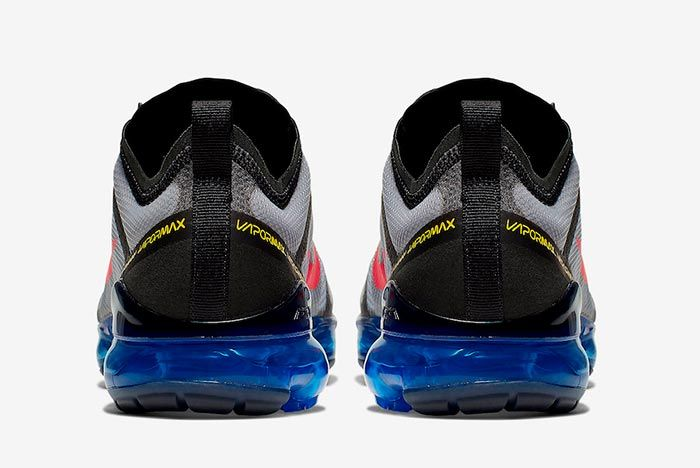 Nike Air Vapormax 2019 Bright Crimson Hyper Blue Ar6631 008 Heel Shot