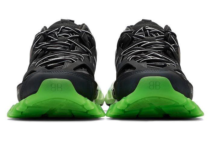Balenciaga Track Sneaker Black Neon Green Front Toe Box Shot