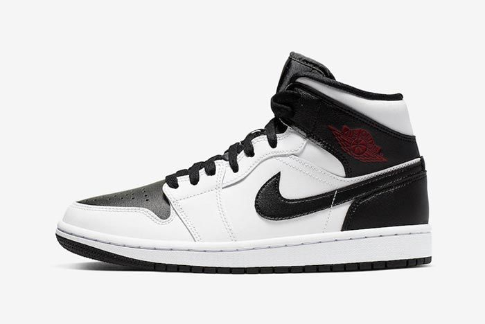 Air Jordan 1 Mid White Black Red Lateral
