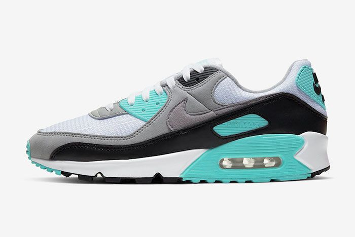 Nike Air Max 90 Hyper Turquoise Cd0881 100 Lateral Side Shot