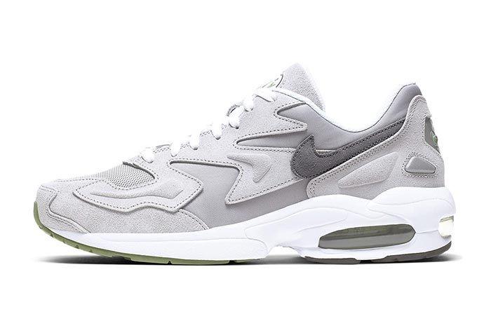 Nike Air Max2 Light Grey Chlorophyll Lateral Side Shot