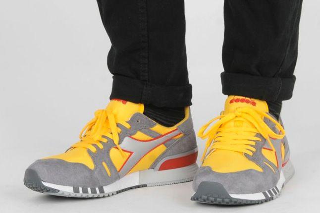 Diadora Heroes Size Exclusive Yellow Pair On Feet 1
