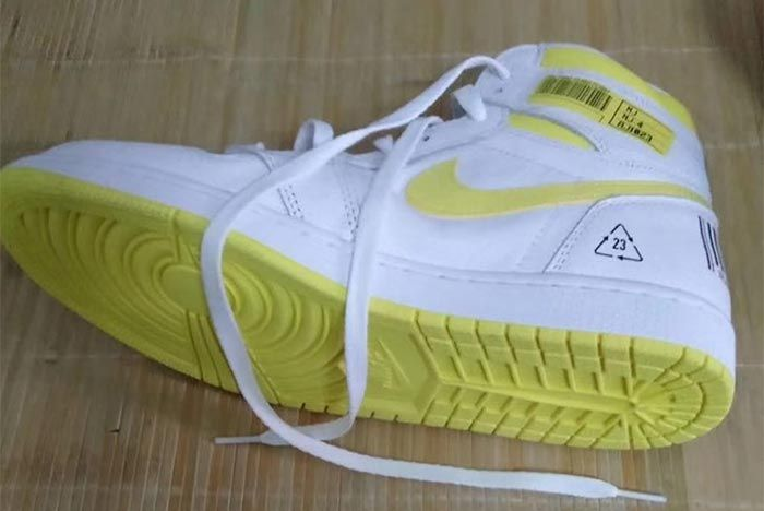 Air Jordan 1 White Yellow Barcode Left Side Shot