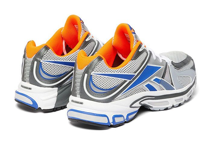 Vetements Reebok Spike Runner 200 White Blue Orange Grey Release Pair Rear