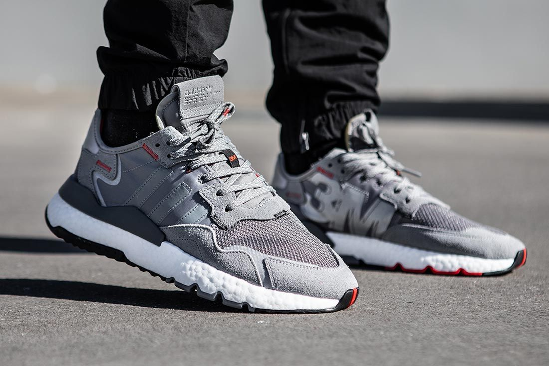 On Foot Adidas Nite Jogger Grey Lifted Heel