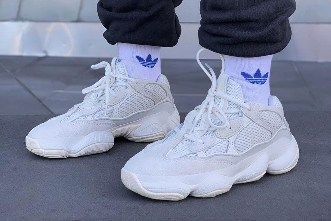 Monsieurbanana Yeezy 500 Bone White On Foot