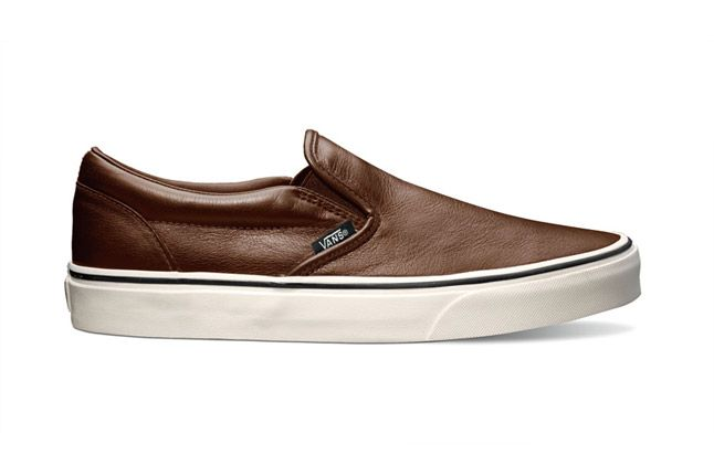 Vans Classic Slip On Aged Leather Brown Holiday 2012 Side 1