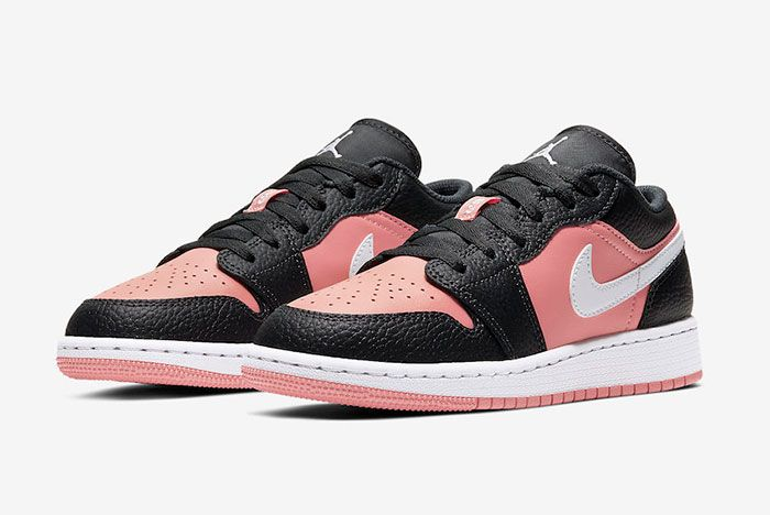 Air Jordan 1 Low Gs Pink Quartz 554723 016 Three Quarter Angled Side Shot