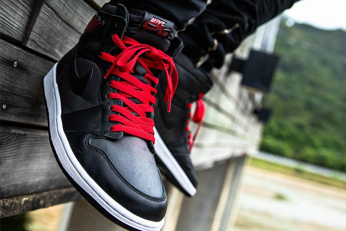 Air Jordan 1 Black Satin On Foot7