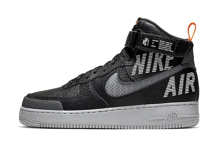 Nike Air Force 1 High Black Grey Orange Cq0449 001 Release Date Lateral
