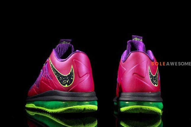 Nike Lebron X Low Pnkpurp Neongrn Tongue Heel Profile 1