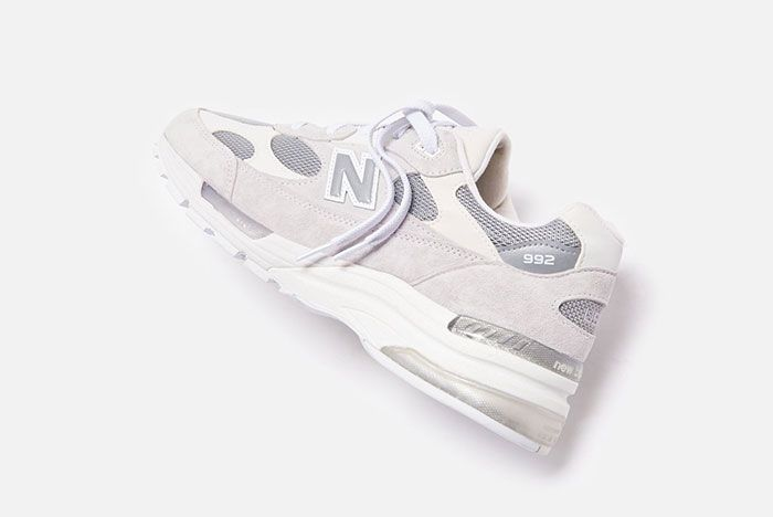 New Balance 992 White Silver Rear Angle