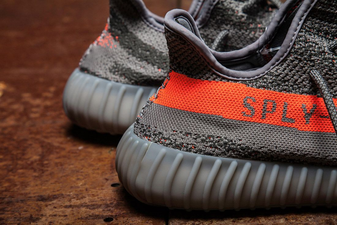 Adidas Yeezy 350 V2 Beluga Grey Orange Close Up 4