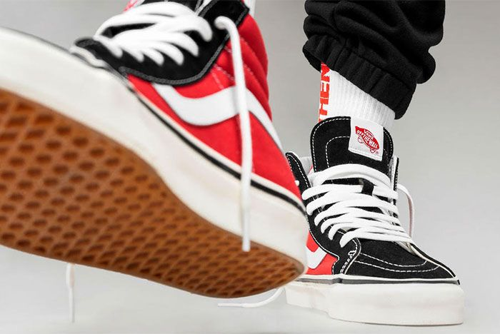 Vans Sk8 Hi Og Black Red Release Date 2 Up Close