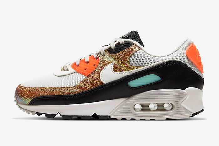 Nike Air Max 90 Gold Snakeskin Lateral Side