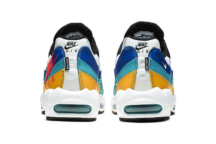 Nike Air Max 95 Windbreaker White University Gold Teal Nebula Red Orbit Aj2018 123 Release Date Heel