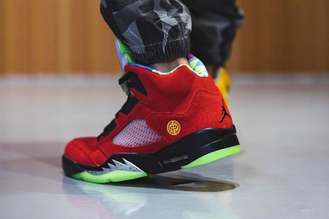 air jordan 5 what the on foot