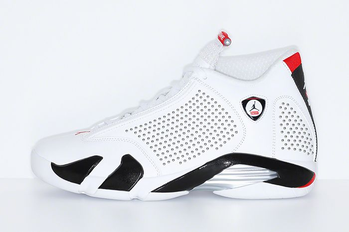 Supreme Air Jordan 14 Official White Release Date Lateral