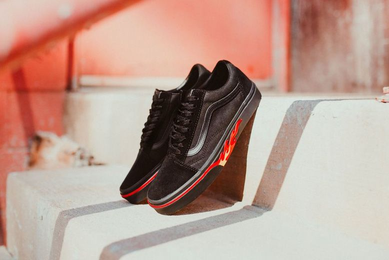 Vans Old Skool Flame Wall Black Blk 1 1024X1024