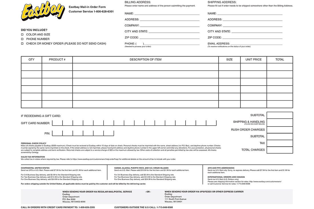 Eastbay Mail Order Form
