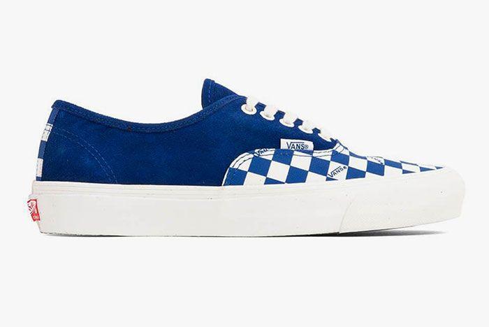 Vans Vault Og Authentic Lx Checkerboard Blue Lateral Side Shot