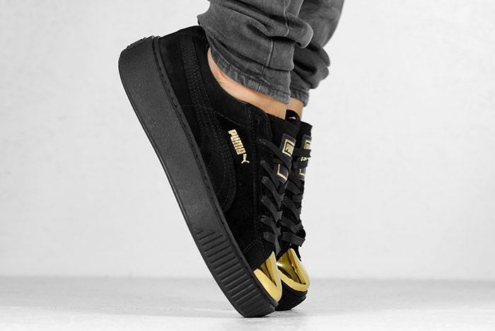 Puma Suede Platform Gold White Black Wmns On Feet 3