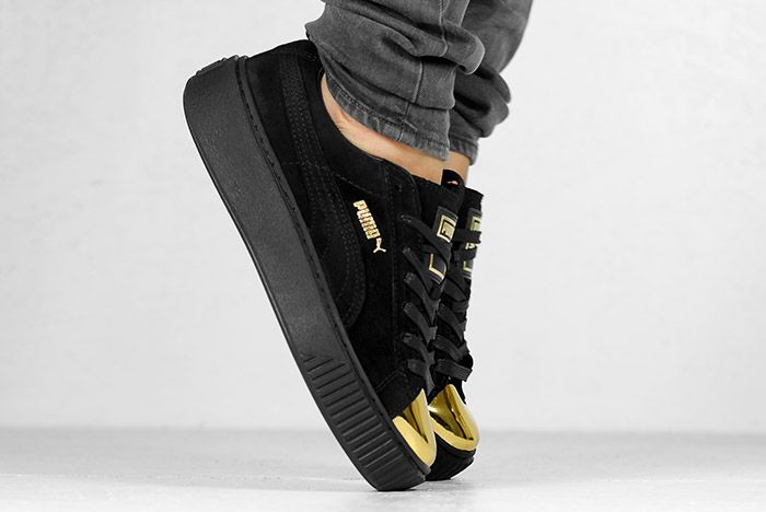 Puma Suede Platform Gold White Black Wmns On Feet 3