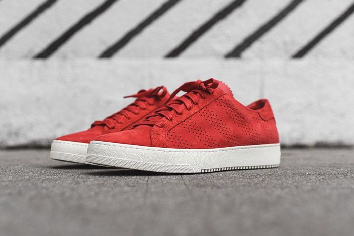 Off White Perforated Striped Sneaker Red 1
