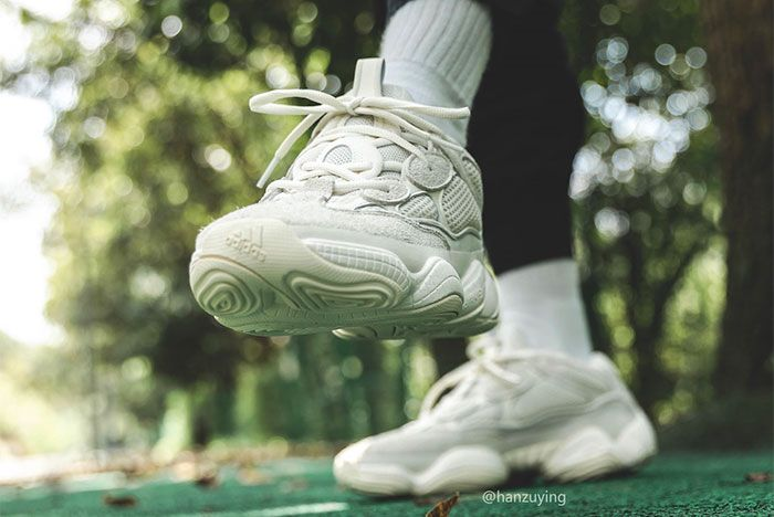 Adidas Yeezy Boost 500 Bone White On Foot Toe 3