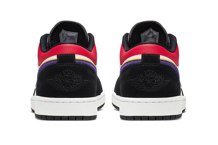 Air Jordan 1 Low Black Court Purple University Gold Bright Crimson Game Royal White Cj9216 051 Release Date Heel