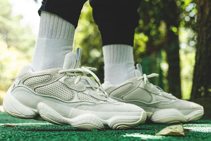 Adidas Yeezy Boost 500 Bone White On Foot Right
