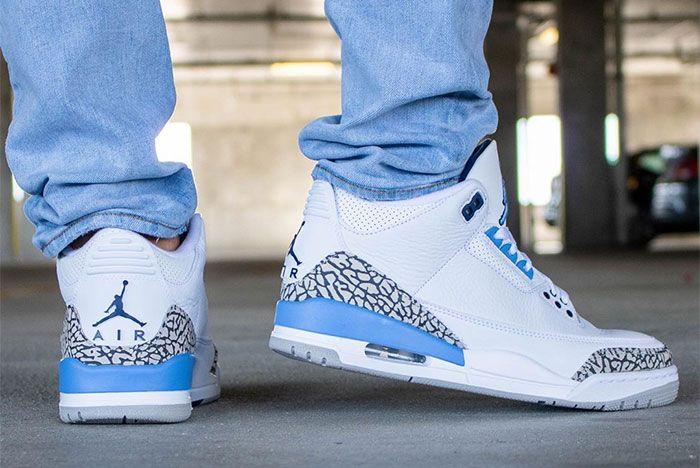 Air Jordan 3 Unc On Foot Heel 2