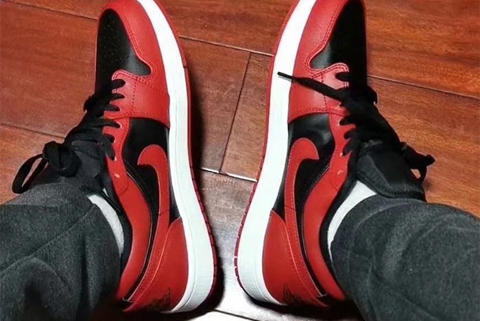 Air Jordan 1 Low Varsity Red On Foot