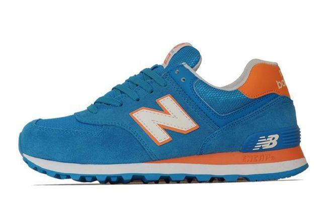 New Balance 574 Blue Orange Side 1