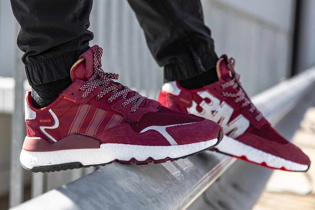 On Foot Adidas Nite Jogger Burgundy Pointed Toe